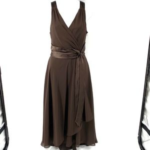Jones Wear Dress brown party dress w sash, 14